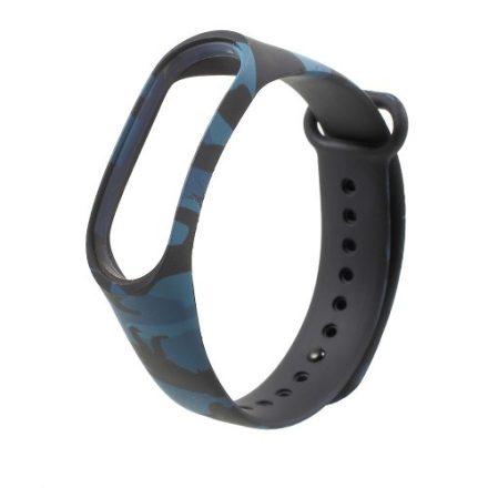 Szilikon Pótszíj - Óraszíj Xiaomi Mi Band 3 Camouflage Style Kék