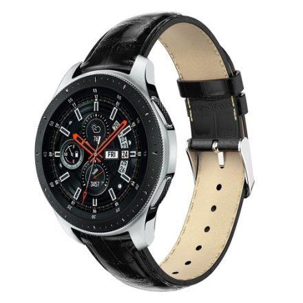 Samsung Galaxy Watch 46mm Pótszíj - Óraszíj Krokodil Bőrmintás Fekete