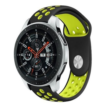 Samsung Galaxy Watch 46mm Óraszíj - Pótszíj Szilikon Hollow Style Lyukacsos Fekete/Zöld