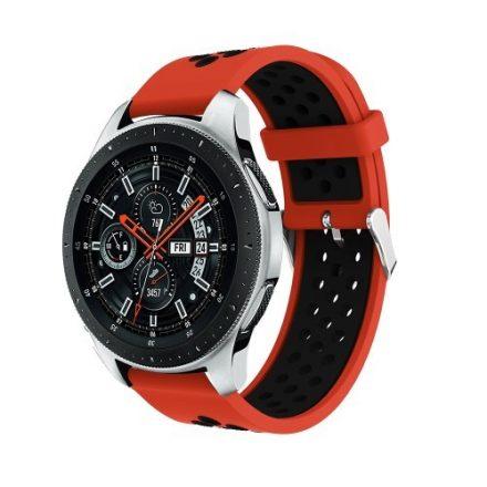 Pótszíj - Szilikon Óraszíj Samsung Galaxy Watch 46mm TwoTone Series Piros/Fekete
