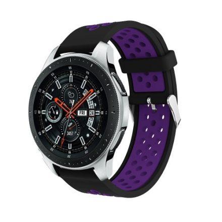 Pótszíj - Szilikon Óraszíj Samsung Galaxy Watch 46mm TwoTone Series Fekete/Lila
