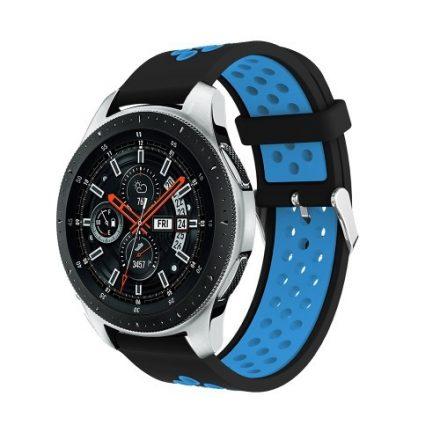 Pótszíj - Szilikon Óraszíj Samsung Galaxy Watch 46mm TwoTone Series Fekete/Világoskék