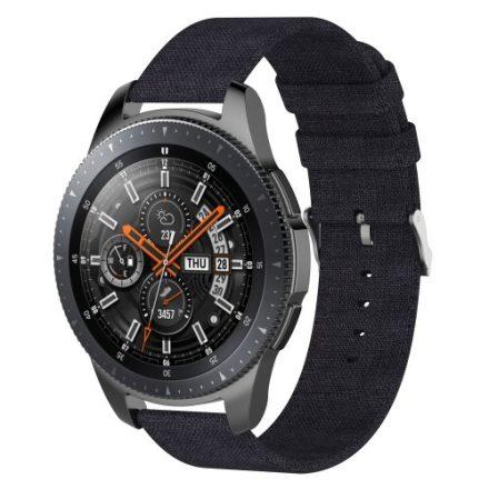 Samsung Galaxy Watch 46mm Óraszíj - Pótszíj Textil Canvas Fekete