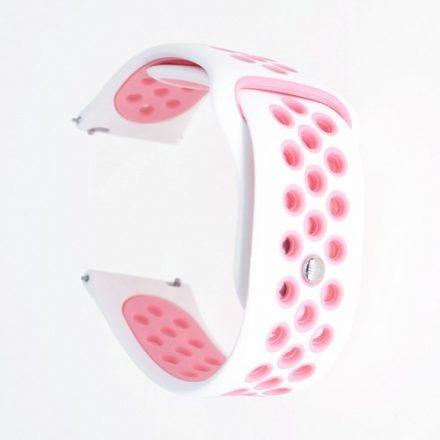 Samsung Galaxy Watch Active Óraszíj - Pótszíj SM-R500 Szilikon Hollow Style Lyukacsos Fehér/Rózsaszín