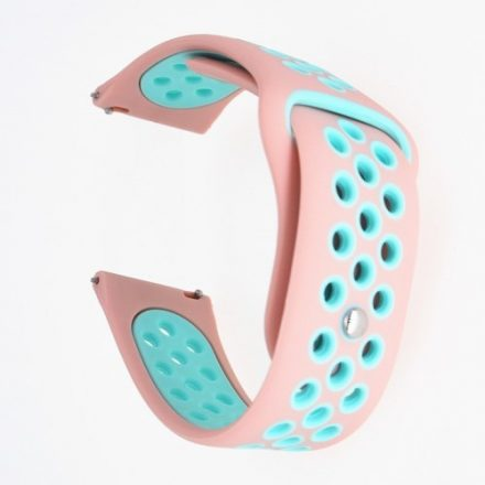 Samsung Galaxy Watch Active Óraszíj - Pótszíj SM-R500 Szilikon Hollow Style Lyukacsos Rózsaszín/Kék