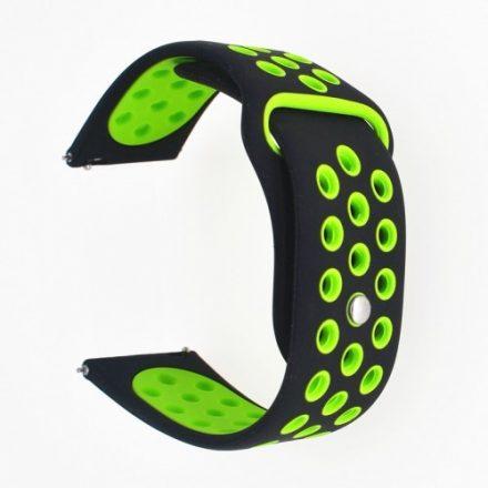 Samsung Galaxy Watch Active Óraszíj - Pótszíj SM-R500 Szilikon Hollow Style Lyukacsos Fekete/Zöld