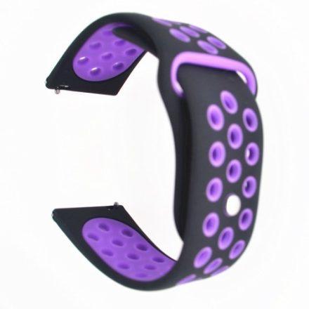 Samsung Galaxy Watch Active Óraszíj - Pótszíj SM-R500 Szilikon Hollow Style Lyukacsos Fekete/Lila
