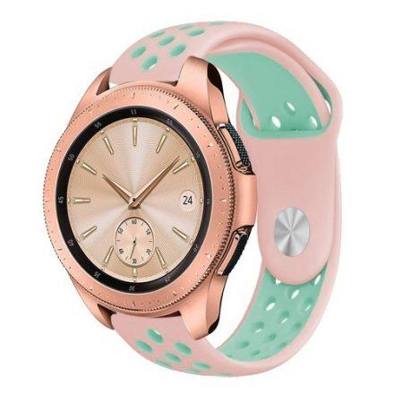 Samsung Galaxy Watch 42mm Pótszíj - Szilikon Óraszíj TwoTone Series Rózsaszín/Cián