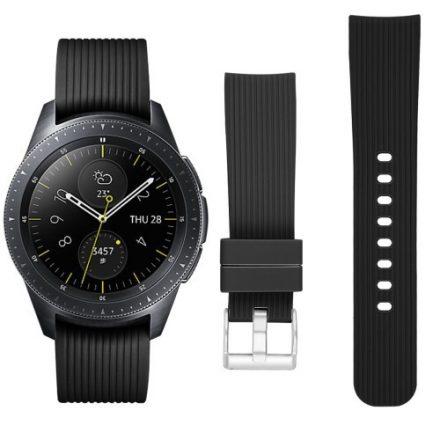 Samsung Galaxy Watch 42mm Óraszíj - Pótszíj Szilikon Stripe Texture Style RMPACK Fekete
