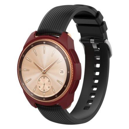 Samsung Galaxy Watch 42mm Szilikon Tok - Keretvédelemmel Bordó