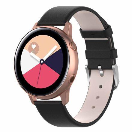 Samsung Galaxy Watch Active Óraszíj Pótszíj - Bőr Elegant Series Fekete