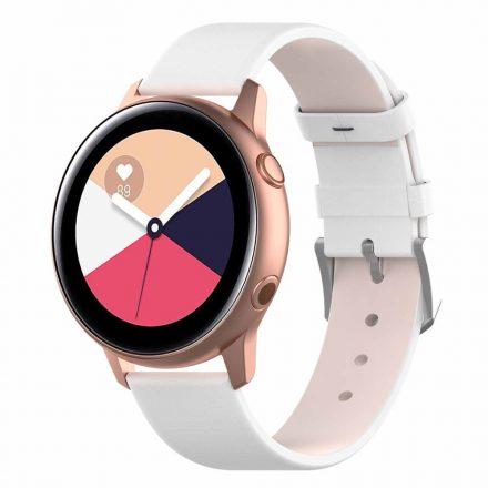 Samsung Galaxy Watch Active Óraszíj Pótszíj - Bőr Elegant Series Fehér
