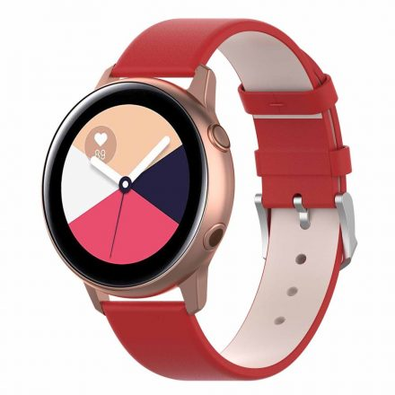 Samsung Galaxy Watch Active Óraszíj Pótszíj - Bőr Elegant Series Piros