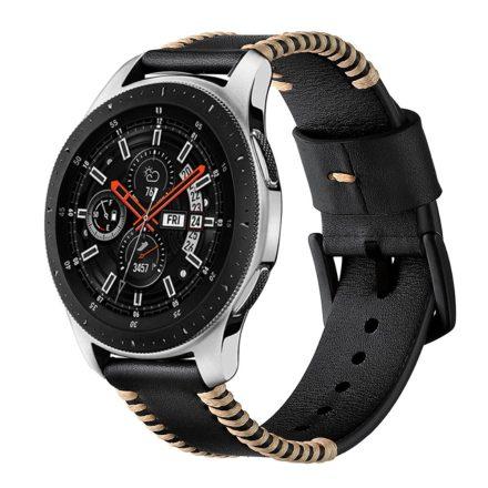 Samsung Galaxy Watch Active Óraszíj Pótszíj - Sewn Edges Bőrszíj Fekete