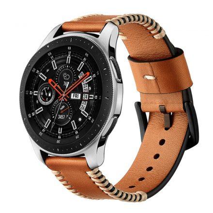 Samsung Galaxy Watch Active Óraszíj Pótszíj - Sewn Edges Bőrszíj Barna
