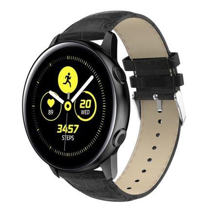 Samsung Galaxy Watch Active Óraszíj Pótszíj - Krokodil Bőrmintázattal Fekete