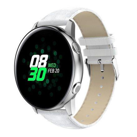 Samsung Galaxy Watch Active Óraszíj Pótszíj - Krokodil Bőrmintázattal Fehér