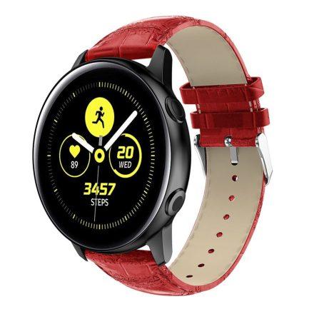 Samsung Galaxy Watch Active Óraszíj Pótszíj - Krokodil Bőrmintázattal Piros
