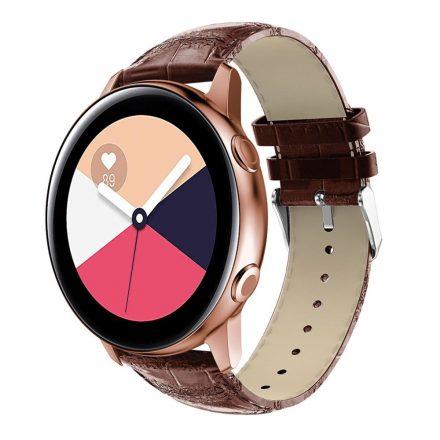 Samsung Galaxy Watch Active Óraszíj Pótszíj - Krokodil Bőrmintázattal Barna