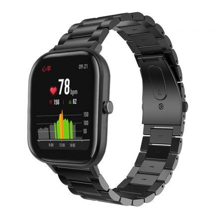 Huawei Amazfit GTS Óraszíj Fémszíj - Pótszíj Steel Edition Fekete