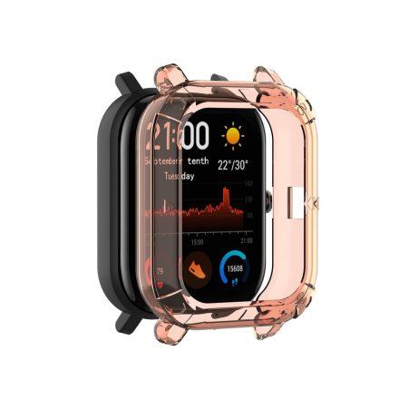 Huawei Amazfit GTS Okosóra Előlapi Védőkeret - Cover Protection Rózsaszín