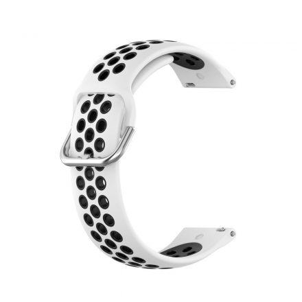 RMPACK Samsung Galaxy Watch 3 41mm Okosóra Szíj Pótszíj Óraszíj Hollow Style Fehér/Fekete