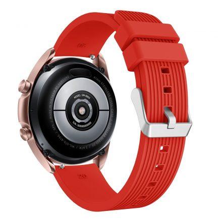 RMPACK Samsung Galaxy Watch 3 41mm Pótszíj Okosóra Szíj Óraszíj Szilikon Sport Style Piros