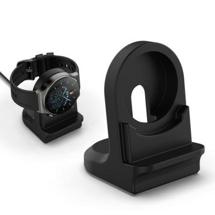 RMPACK Huawei Watch 3 Pro / Watch 3 Dokkoló Állomás Töltő Szilikon Tartóval Fekete