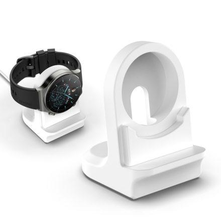 RMPACK Huawei Watch 3 Pro / Watch 3 Dokkoló Állomás Töltő Szilikon Tartóval Fehér