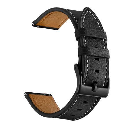 RMPACK Samsung Galaxy Watch4 40mm,42mm,44mm,46mm Bőrszíj Pótszíj Óraszíj CowStyle Fekete