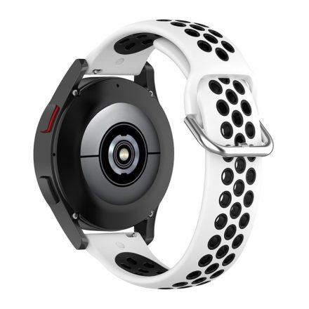 RMPACK Samsung Galaxy Watch4 Classic 46mm, 44mm Óraszíj Szilikon Pótszíj Sport Hollow Style Fehér/Fekete