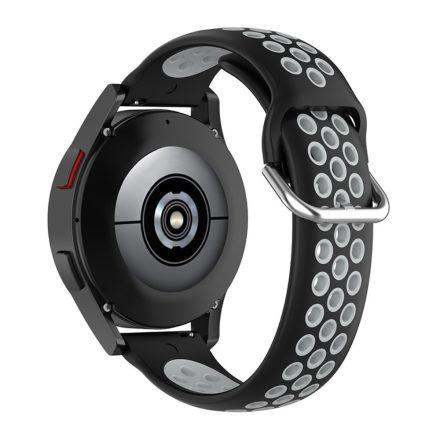 RMPACK Samsung Galaxy Watch4 Classic 46mm, 44mm Óraszíj Szilikon Pótszíj Sport Hollow Style Fekete/Szürke