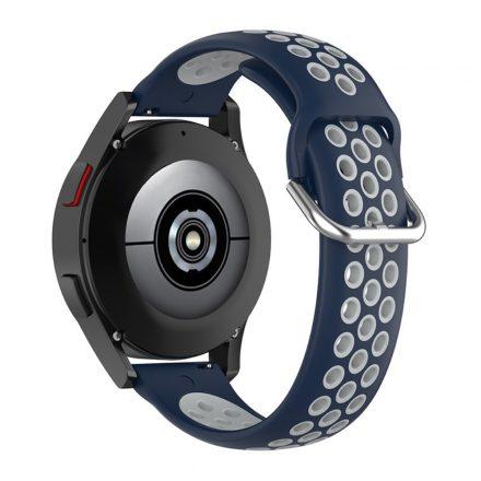 RMPACK Samsung Galaxy Watch4 Classic 46mm, 44mm Óraszíj Szilikon Pótszíj Sport Hollow Style Sötétkék/Szürke