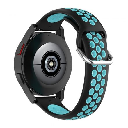 RMPACK Samsung Galaxy Watch4 Classic 46mm, 44mm Óraszíj Szilikon Pótszíj Sport Hollow Style Fekete/Cián
