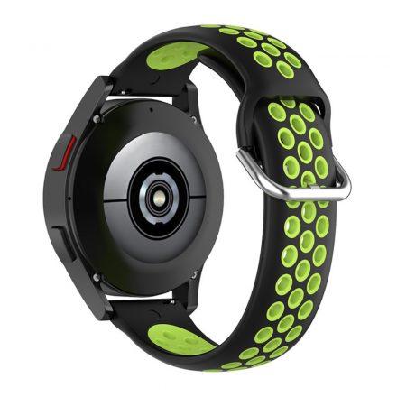 RMPACK Samsung Galaxy Watch4 Classic 46mm, 44mm Óraszíj Szilikon Pótszíj Sport Hollow Style Fekete/Zöld