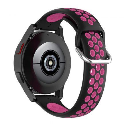 RMPACK Samsung Galaxy Watch4 Classic 46mm, 44mm Óraszíj Szilikon Pótszíj Sport Hollow Style Fekete/Pink