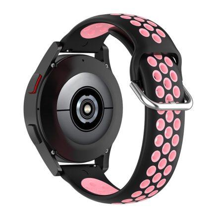 RMPACK Samsung Galaxy Watch4 Classic 46mm, 44mm Óraszíj Szilikon Pótszíj Sport Hollow Style Fekete/Rózsaszín