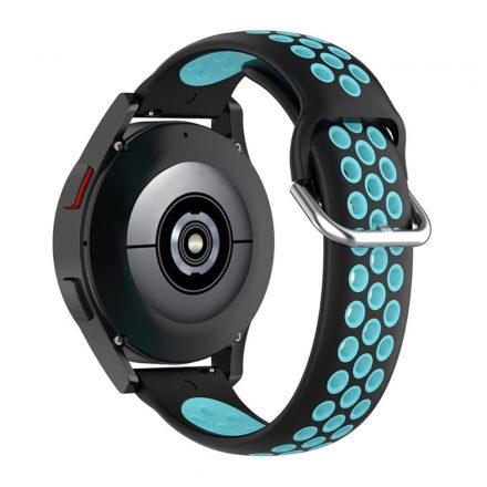 RMPACK Samsung Galaxy Watch4 40mm,42mm Óraszíj Szilikon Pótszíj Sport Hollow Style Fekete/Cián