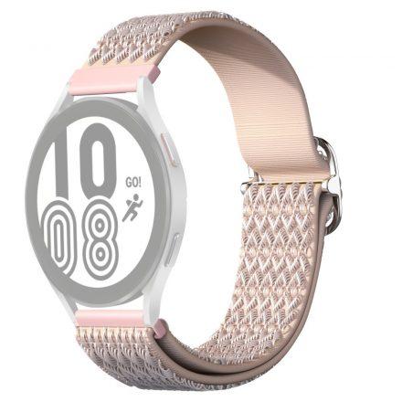 RMPACK Samsung Galaxy Watch4 42mm Pótszíj Óraszíj Szövet Szíj Nylon Rhombus Style Rózsaszín