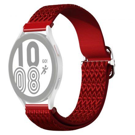 RMPACK Samsung Galaxy Watch4 42mm Pótszíj Óraszíj Szövet Szíj Nylon Rhombus Style Piros