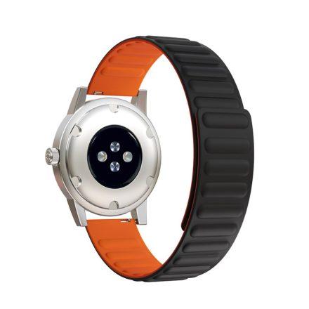 RMPACK Samsung Galaxy Watch4 Classic 46mm 42mm / 44mm 40mm Mágneses Szíj Pótszíj Szilikon Óraszíj Fekete/Narancsssárga