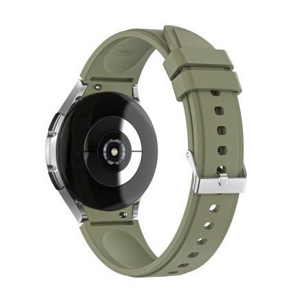 RMPACK Samsung Galaxy Watch4 40mm 42mm / Watch4 Classic 44mm Classic 46mm Óraszíj Szilikon Pótszíj TrendyStyle KatonaZöld
