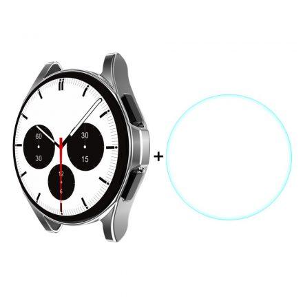 RMPACK Samsung Galaxy Watch4 Classic 46mm Védőkeret + Üvegfólia Képernyővédő Tempered Glass Ezüst