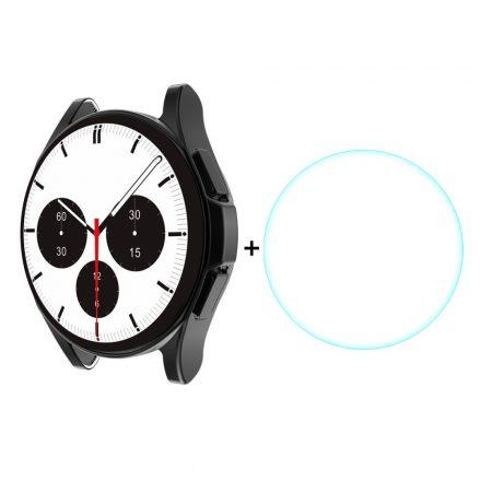RMPACK Samsung Galaxy Watch4 Classic 46mm Védőkeret + Üvegfólia Képernyővédő Tempered Glass Fekete