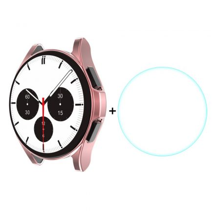RMPACK Samsung Galaxy Watch4 Classic 46mm Védőkeret + Üvegfólia Képernyővédő Tempered Glass Rózsaszín