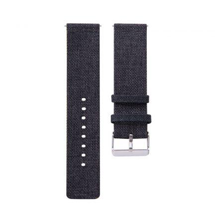 RMPACK Samsung Galaxy Watch4 40mm Classic 42mm 44mm Classic 46mm Szövet Pótszíj Óraszíj Canvas Elegance Series Fekete