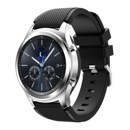 Samsung Gear S3 Frontier / Gear S3 Pótszíj - Óraszíj Trendy Sport Szilikon Fekete